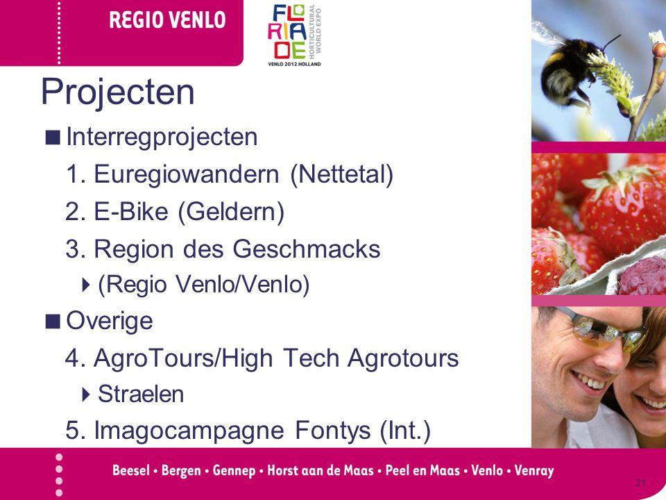 Projecten  Interregprojecten 1. Euregiowandern (Nettetal) 2. E-Bike (Geldern) 3. Region des Geschmacks  (Regio Venlo/Venlo)  Overige 4. AgroTours/H