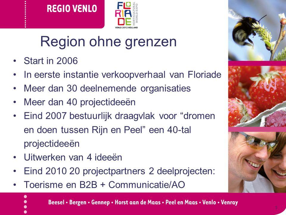 Start in 2006 In eerste instantie verkoopverhaal van Floriade Meer dan 30 deelnemende organisaties Meer dan 40 projectideeën Eind 2007 bestuurlijk draagvlak voor dromen en doen tussen Rijn en Peel een 40-tal projectideeën Uitwerken van 4 ideeën Eind 2010 20 projectpartners 2 deelprojecten: Toerisme en B2B + Communicatie/AO 5 Region ohne grenzen