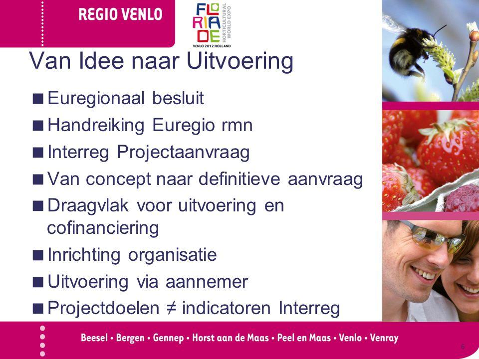 Van Idee naar Uitvoering  Euregionaal besluit  Handreiking Euregio rmn  Interreg Projectaanvraag  Van concept naar definitieve aanvraag  Draagvla