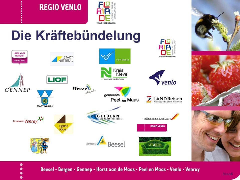 Doelen  Blijvend profiteren spin-off Floriade  Verbinden van 2 regio's Hoe: Initiëren twee projecten Beesel Genne p Horst aan de Maas Peel en Maas Venlo Venra y 9