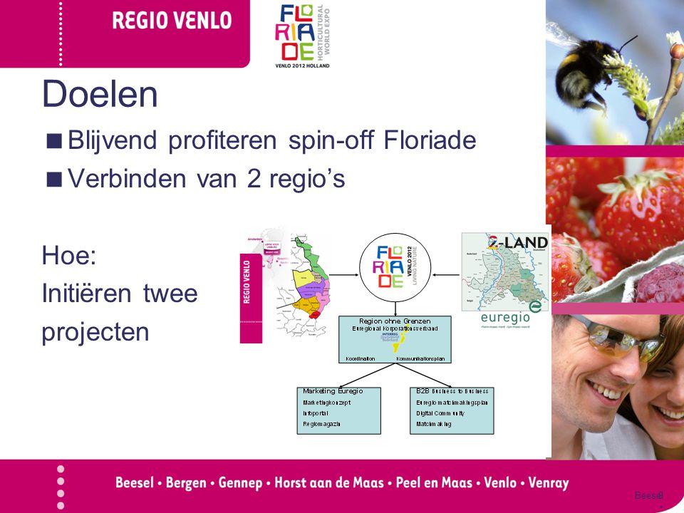 Doelen  Blijvend profiteren spin-off Floriade  Verbinden van 2 regio's Hoe: Initiëren twee projecten Beesel Genne p Horst aan de Maas Peel en Maas V
