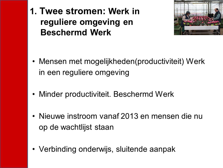 Mensen met mogelijkheden(productiviteit) Werk in een reguliere omgeving Minder productiviteit. Beschermd Werk Nieuwe instroom vanaf 2013 en mensen die
