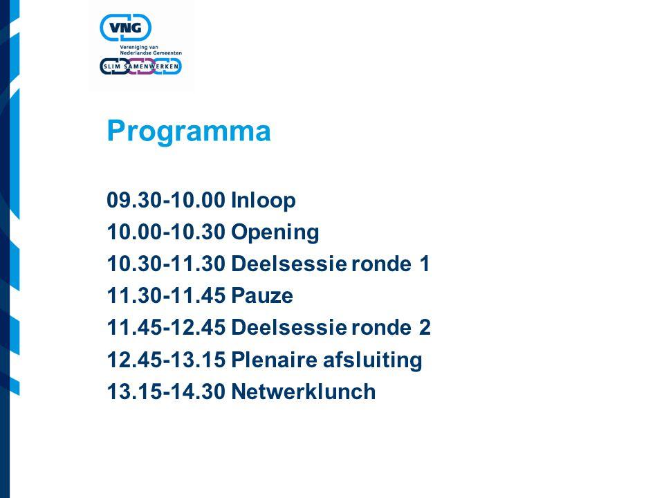 Programma 09.30-10.00 Inloop 10.00-10.30 Opening 10.30-11.30 Deelsessie ronde 1 11.30-11.45 Pauze 11.45-12.45 Deelsessie ronde 2 12.45-13.15 Plenaire