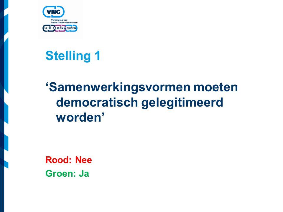 Stelling 1 'Samenwerkingsvormen moeten democratisch gelegitimeerd worden' Rood: Nee Groen: Ja