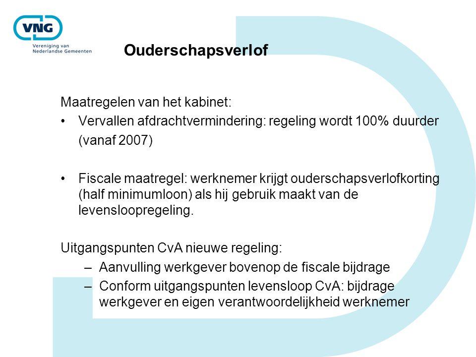 Ouderschapsverlof Maatregelen van het kabinet: Vervallen afdrachtvermindering: regeling wordt 100% duurder (vanaf 2007) Fiscale maatregel: werknemer k
