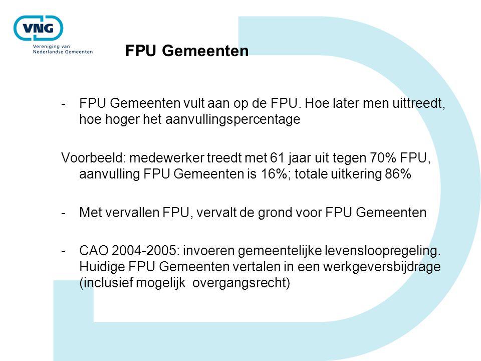 FPU Gemeenten -FPU Gemeenten vult aan op de FPU. Hoe later men uittreedt, hoe hoger het aanvullingspercentage Voorbeeld: medewerker treedt met 61 jaar