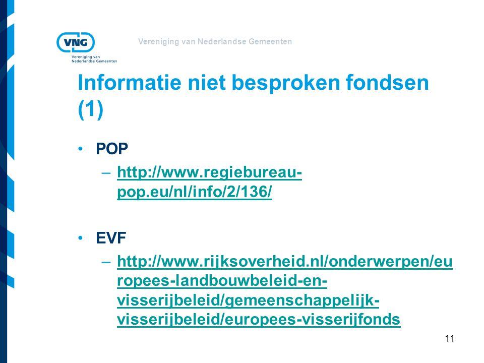 Vereniging van Nederlandse Gemeenten Informatie niet besproken fondsen (1) POP –http://www.regiebureau- pop.eu/nl/info/2/136/http://www.regiebureau- pop.eu/nl/info/2/136/ EVF –http://www.rijksoverheid.nl/onderwerpen/eu ropees-landbouwbeleid-en- visserijbeleid/gemeenschappelijk- visserijbeleid/europees-visserijfondshttp://www.rijksoverheid.nl/onderwerpen/eu ropees-landbouwbeleid-en- visserijbeleid/gemeenschappelijk- visserijbeleid/europees-visserijfonds 11