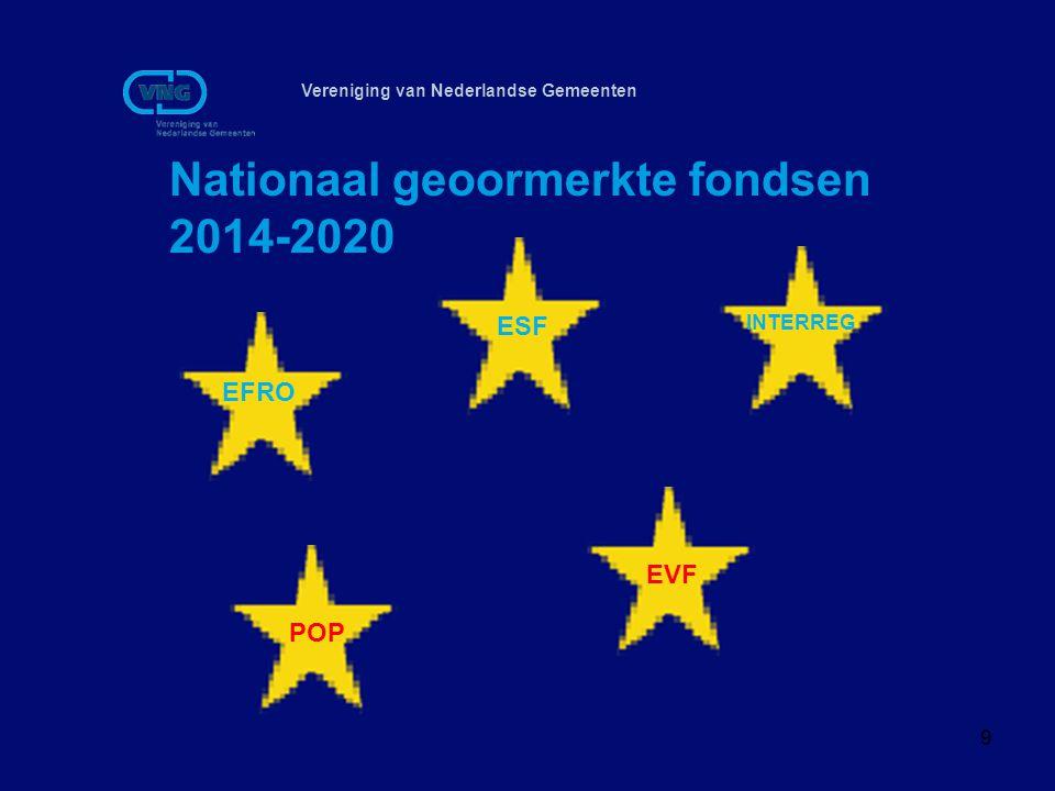 Vereniging van Nederlandse Gemeenten Nationaal geoormerkte fondsen 2014-2020 9 EFRO ESF INTERREG POP EVF