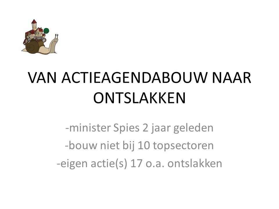 VAN ACTIEAGENDABOUW NAAR ONTSLAKKEN -minister Spies 2 jaar geleden -bouw niet bij 10 topsectoren -eigen actie(s) 17 o.a.