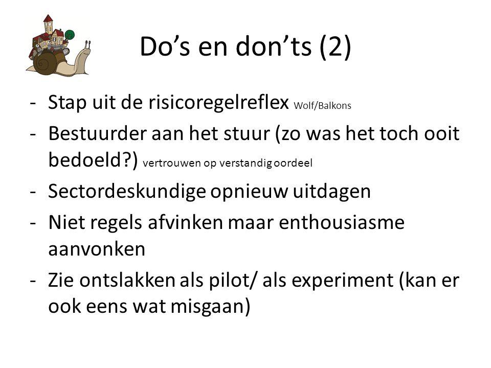Do's en don'ts (2) -Stap uit de risicoregelreflex Wolf/Balkons -Bestuurder aan het stuur (zo was het toch ooit bedoeld?) vertrouwen op verstandig oordeel -Sectordeskundige opnieuw uitdagen -Niet regels afvinken maar enthousiasme aanvonken -Zie ontslakken als pilot/ als experiment (kan er ook eens wat misgaan)