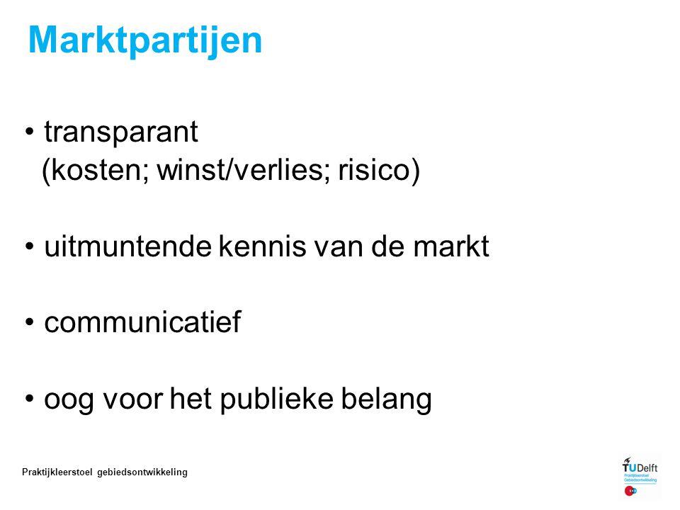 Marktpartijen transparant (kosten; winst/verlies; risico) uitmuntende kennis van de markt communicatief oog voor het publieke belang 11 Praktijkleerstoel gebiedsontwikkeling
