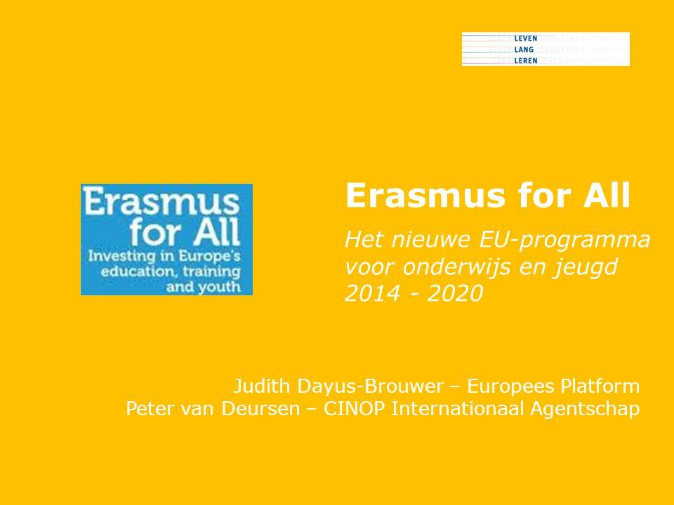 Erasmus for All Het nieuwe EU-programma voor onderwijs en jeugd 2014 - 2020 Judith Dayus-Brouwer – Europees Platform Peter van Deursen – CINOP Internationaal Agentschap