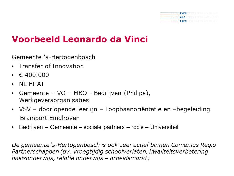 5 Voorbeeld Leonardo da Vinci Gemeente 's-Hertogenbosch Transfer of Innovation € 400.000 NL-FI-AT Gemeente – VO – MBO - Bedrijven (Philips), Werkgeversorganisaties VSV – doorlopende leerlijn – Loopbaanoriëntatie en –begeleiding Brainport Eindhoven Bedrijven – Gemeente – sociale partners – roc's – Universiteit De gemeente 's-Hertogenbosch is ook zeer actief binnen Comenius Regio Partnerschappen (bv.