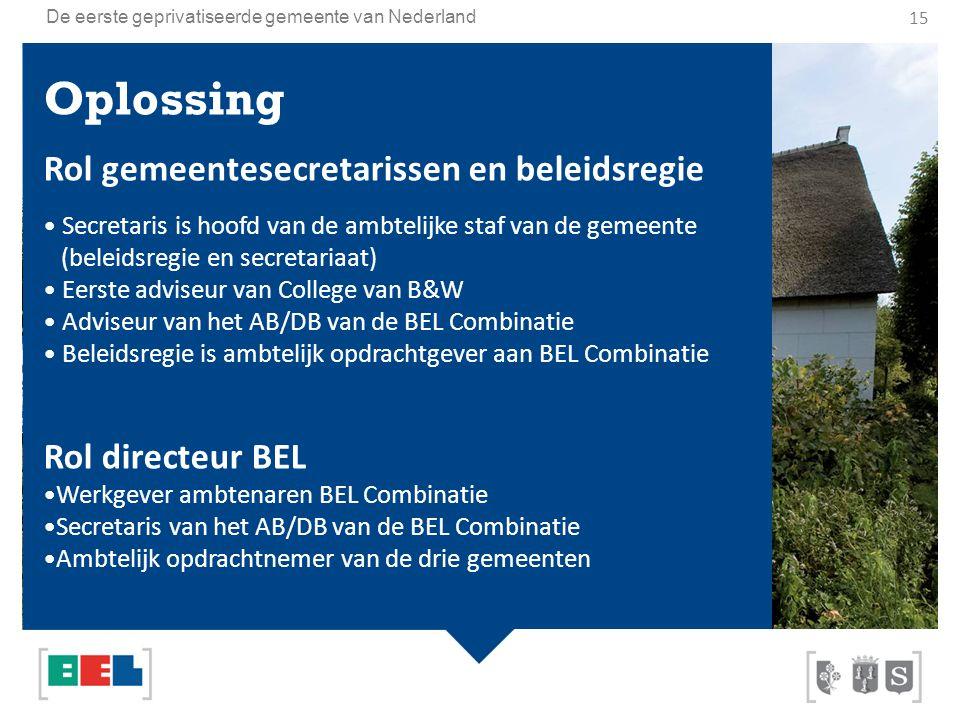 De eerste geprivatiseerde gemeente van Nederland Oplossing Rol gemeentesecretarissen en beleidsregie Secretaris is hoofd van de ambtelijke staf van de