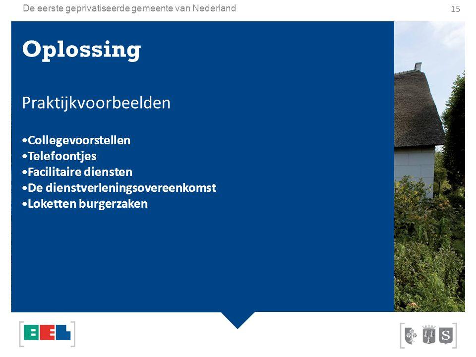 De eerste geprivatiseerde gemeente van Nederland Oplossing Praktijkvoorbeelden Collegevoorstellen Telefoontjes Facilitaire diensten De dienstverlening