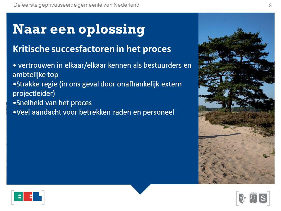 De eerste geprivatiseerde gemeente van Nederland 8 Naar een oplossing Kritische succesfactoren in het proces vertrouwen in elkaar/elkaar kennen als be