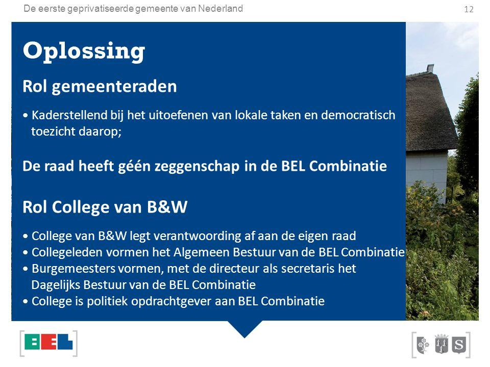 De eerste geprivatiseerde gemeente van Nederland Oplossing Rol gemeenteraden Kaderstellend bij het uitoefenen van lokale taken en democratisch toezich