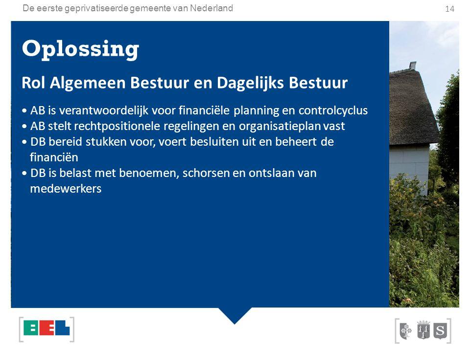 De eerste geprivatiseerde gemeente van Nederland Oplossing Rol Algemeen Bestuur en Dagelijks Bestuur AB is verantwoordelijk voor financiële planning e