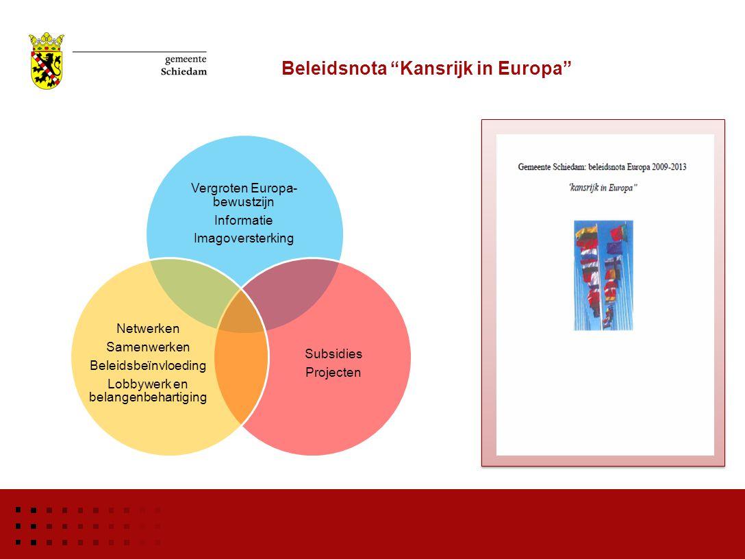 """Beleidsnota """"Kansrijk in Europa"""" Vergroten Europa- bewustzijn Informatie Imagoversterking Subsidies Projecten Netwerken Samenwerken Beleidsbeïnvloedin"""