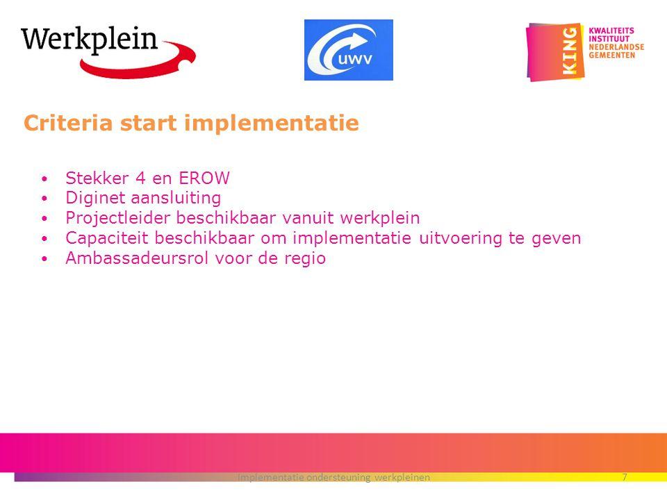 Criteria start implementatie Stekker 4 en EROW Diginet aansluiting Projectleider beschikbaar vanuit werkplein Capaciteit beschikbaar om implementatie