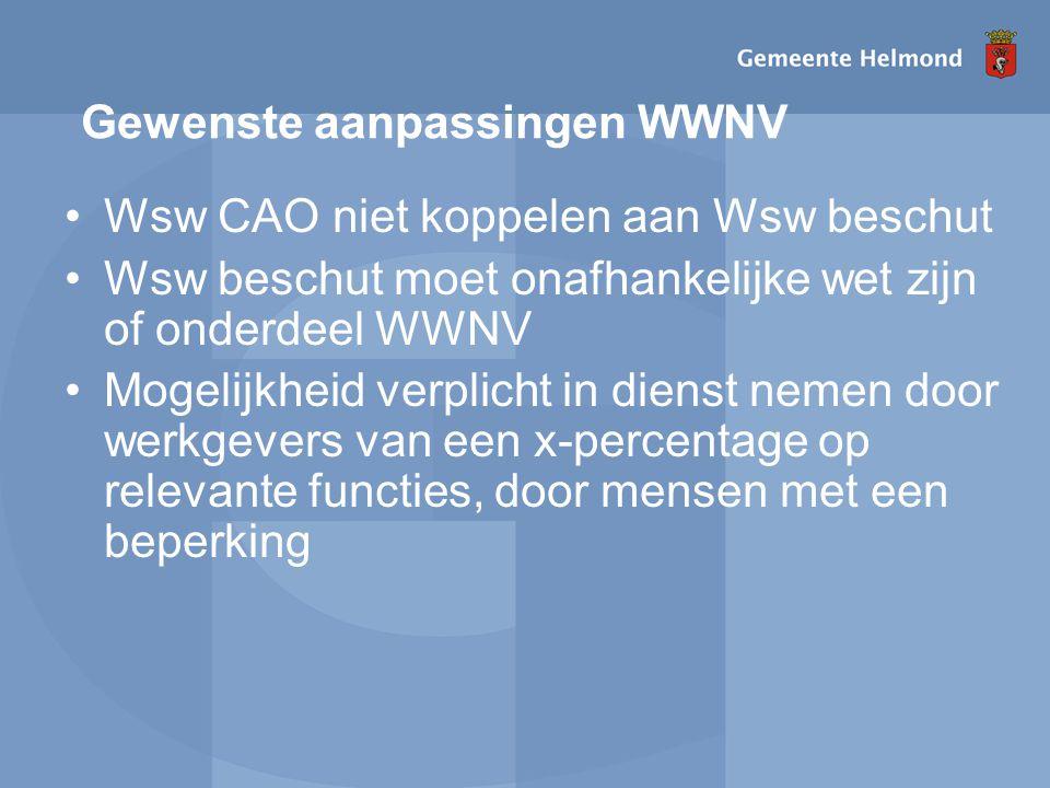 Gewenste aanpassingen WWNV Wsw CAO niet koppelen aan Wsw beschut Wsw beschut moet onafhankelijke wet zijn of onderdeel WWNV Mogelijkheid verplicht in dienst nemen door werkgevers van een x-percentage op relevante functies, door mensen met een beperking