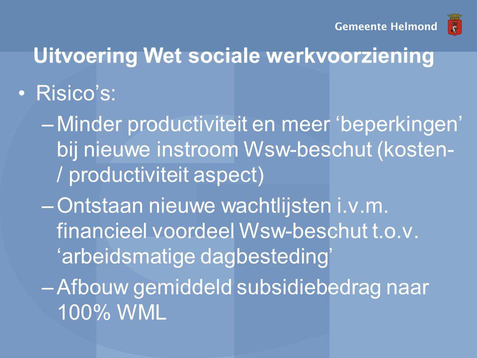 Uitvoering Wet sociale werkvoorziening Risico's: –Minder productiviteit en meer 'beperkingen' bij nieuwe instroom Wsw-beschut (kosten- / productiviteit aspect) –Ontstaan nieuwe wachtlijsten i.v.m.