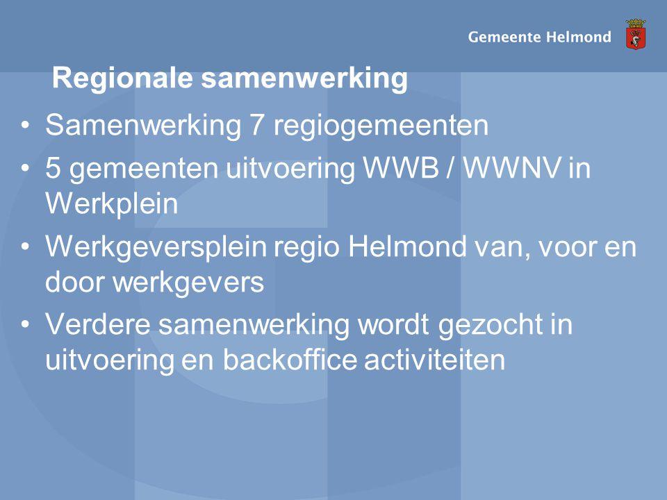 Regionale samenwerking Samenwerking 7 regiogemeenten 5 gemeenten uitvoering WWB / WWNV in Werkplein Werkgeversplein regio Helmond van, voor en door werkgevers Verdere samenwerking wordt gezocht in uitvoering en backoffice activiteiten