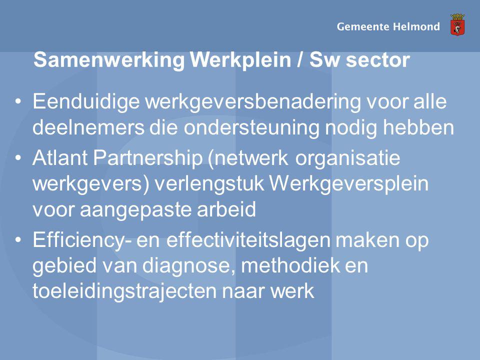 Samenwerking Werkplein / Sw sector Eenduidige werkgeversbenadering voor alle deelnemers die ondersteuning nodig hebben Atlant Partnership (netwerk organisatie werkgevers) verlengstuk Werkgeversplein voor aangepaste arbeid Efficiency- en effectiviteitslagen maken op gebied van diagnose, methodiek en toeleidingstrajecten naar werk