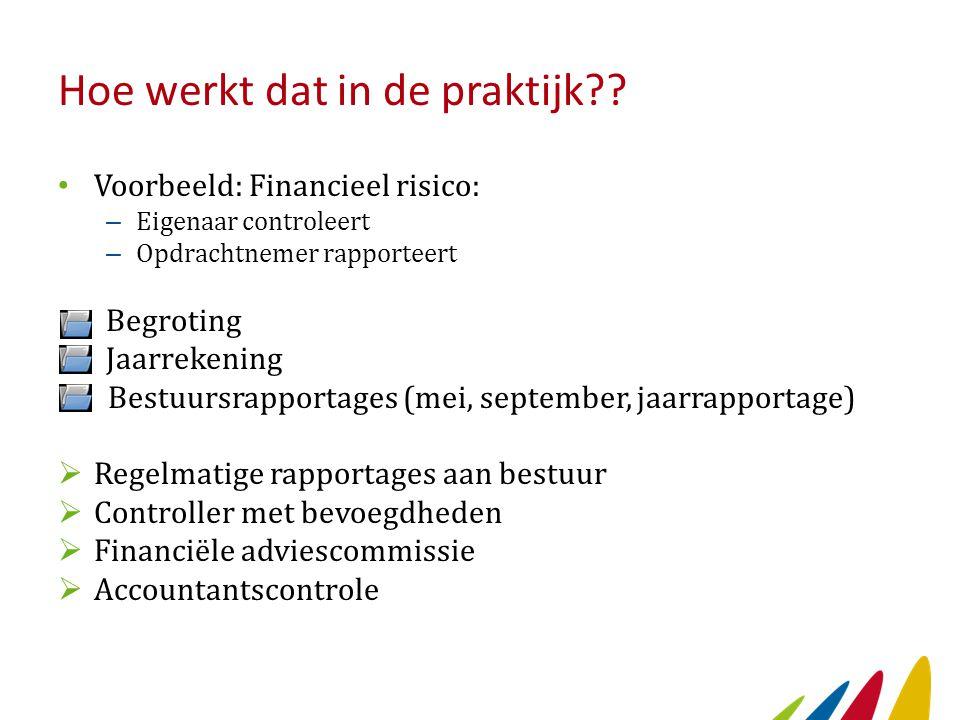 Hoe werkt dat in de praktijk?? Voorbeeld: Financieel risico: – Eigenaar controleert – Opdrachtnemer rapporteert Begroting Jaarrekening Bestuursrapport