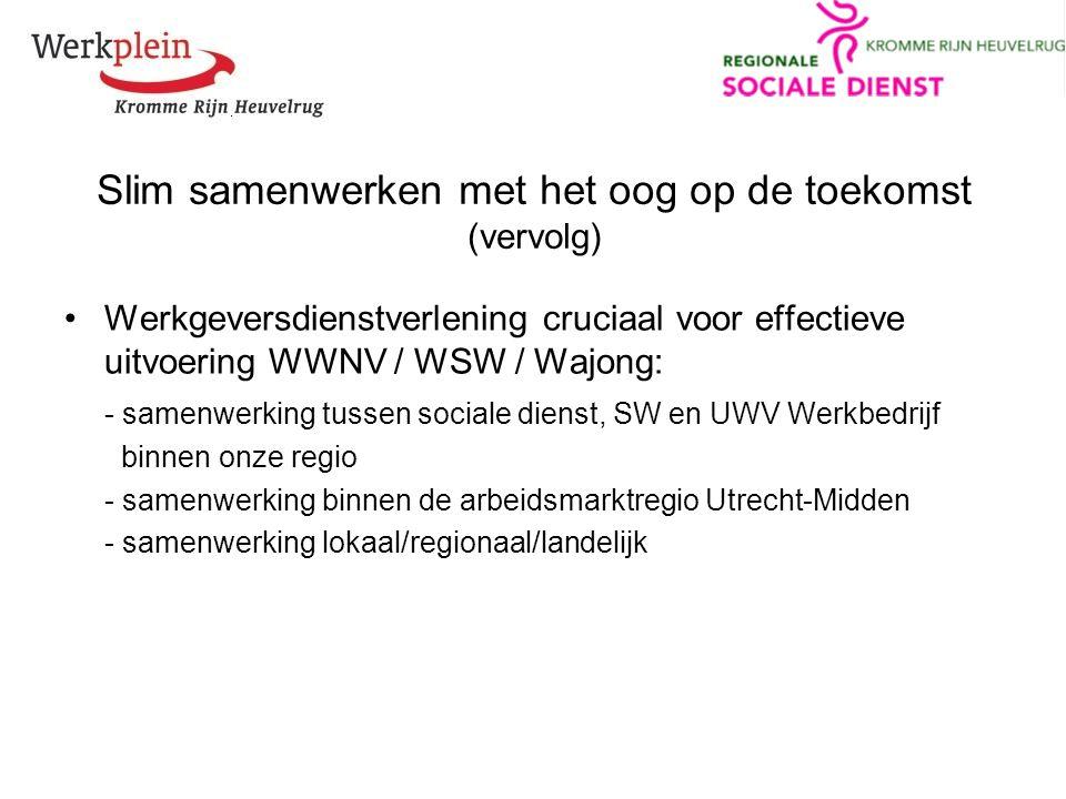 Slim samenwerken met het oog op de toekomst (vervolg) Werkgeversdienstverlening cruciaal voor effectieve uitvoering WWNV / WSW / Wajong: - samenwerking tussen sociale dienst, SW en UWV Werkbedrijf binnen onze regio - samenwerking binnen de arbeidsmarktregio Utrecht-Midden - samenwerking lokaal/regionaal/landelijk