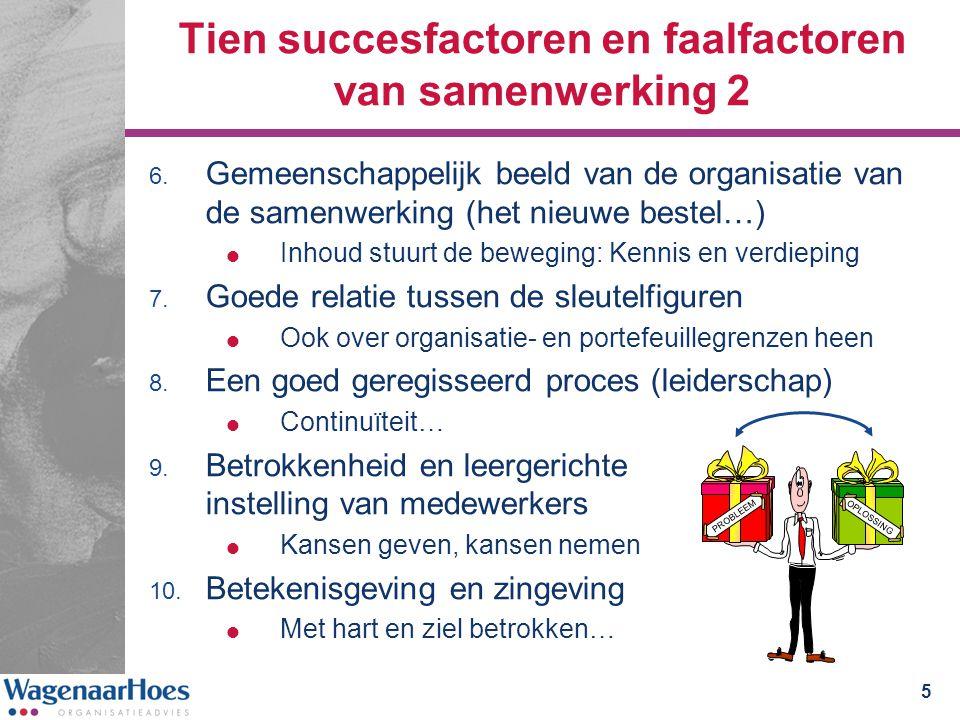 Tien succesfactoren en faalfactoren van samenwerking 2 6.