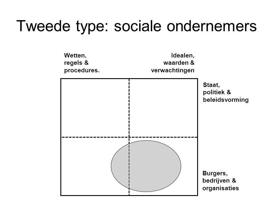 Tweede type: sociale ondernemers Wetten, regels & procedures. Idealen, waarden & verwachtingen Staat, politiek & beleidsvorming Burgers, bedrijven & o