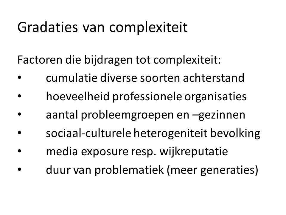 Gradaties van complexiteit Factoren die bijdragen tot complexiteit: cumulatie diverse soorten achterstand hoeveelheid professionele organisaties aanta
