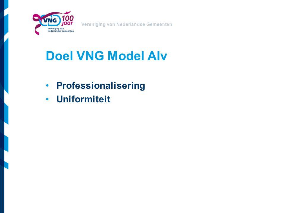 Vereniging van Nederlandse Gemeenten Uitgangspunten VNG Model AIv Expertmeeting/GIP/Expertisegroep PIANOo: –Pragmatisch –Breed toepasbaar –Evenwichtig –Toelichting tbv maatwerk
