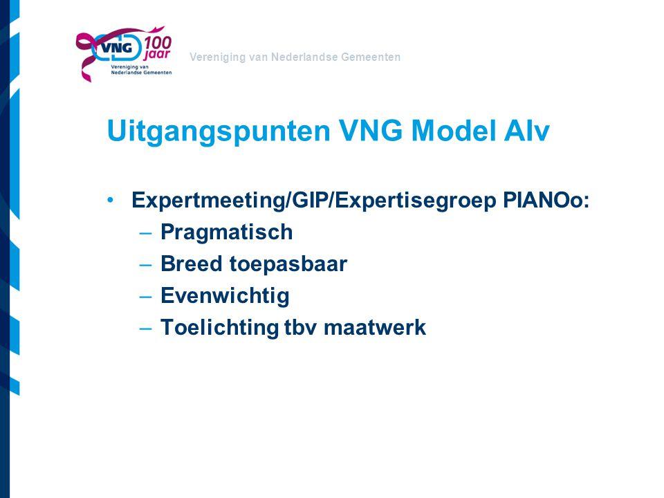 Vereniging van Nederlandse Gemeenten Uitgangspunten VNG Model AIv Expertmeeting/GIP/Expertisegroep PIANOo: –Pragmatisch –Breed toepasbaar –Evenwichtig