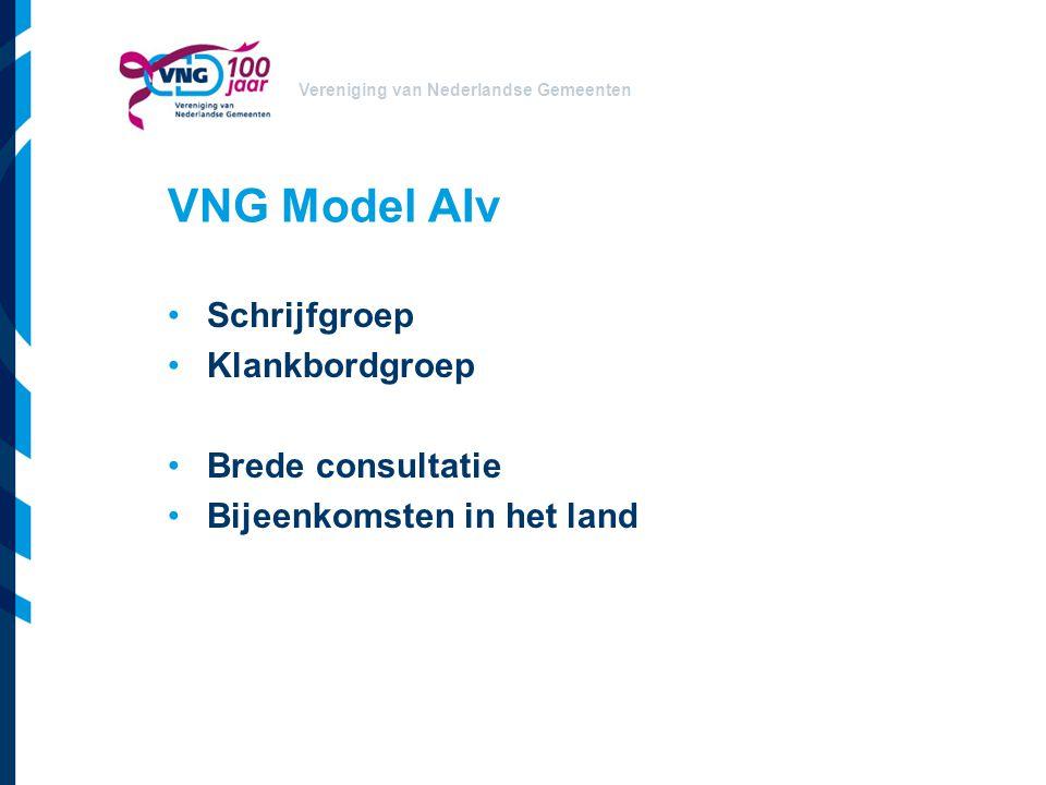 Vereniging van Nederlandse Gemeenten VNG Model AIv Schrijfgroep Klankbordgroep Brede consultatie Bijeenkomsten in het land
