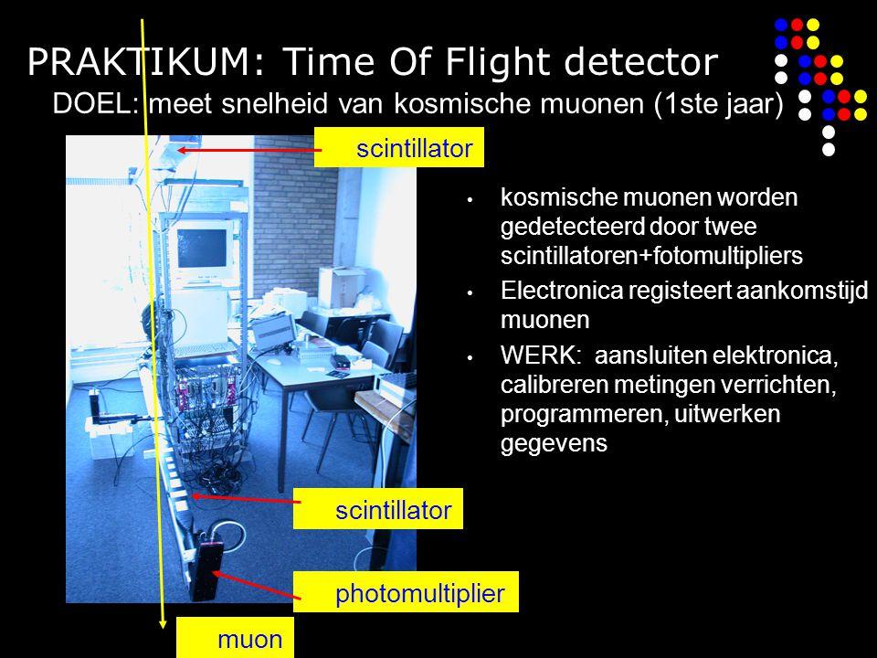PRAKTIKUM: Time Of Flight detector kosmische muonen worden gedetecteerd door twee scintillatoren+fotomultipliers Electronica registeert aankomstijd muonen WERK: aansluiten elektronica, calibreren metingen verrichten, programmeren, uitwerken gegevens scintillator photomultiplier muon DOEL: meet snelheid van kosmische muonen (1ste jaar)
