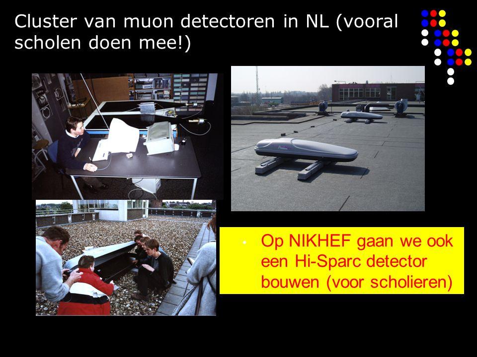 Cluster van muon detectoren in NL (vooral scholen doen mee!) Op NIKHEF gaan we ook een Hi-Sparc detector bouwen (voor scholieren)