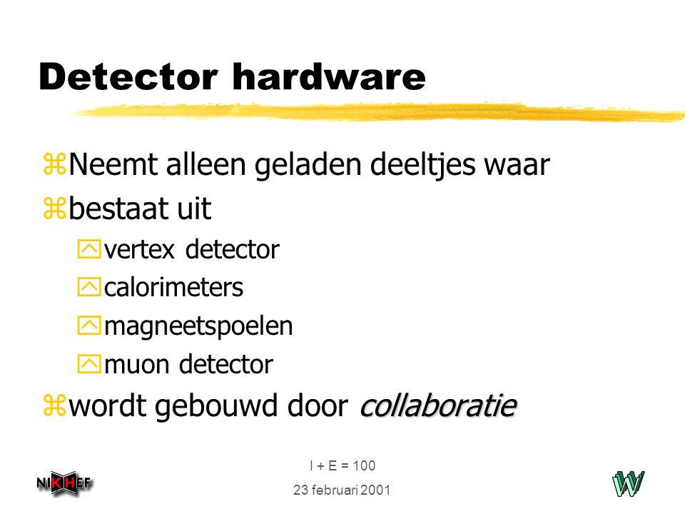 I + E = 100 23 februari 2001 Detector hardware zNeemt alleen geladen deeltjes waar zbestaat uit yvertex detector ycalorimeters ymagneetspoelen ymuon detector collaboratie zwordt gebouwd door collaboratie