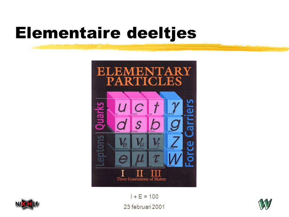 I + E = 100 23 februari 2001 Elementaire deeltjes