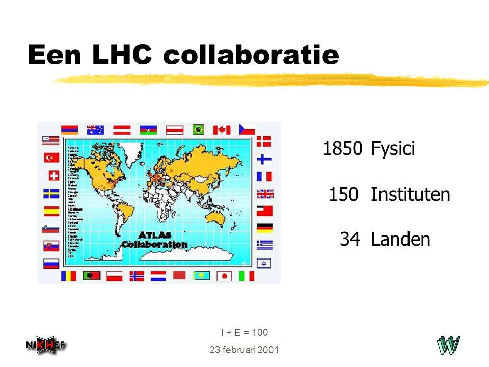 I + E = 100 23 februari 2001 Een LHC collaboratie 1850 Fysici 150 Instituten 34 Landen