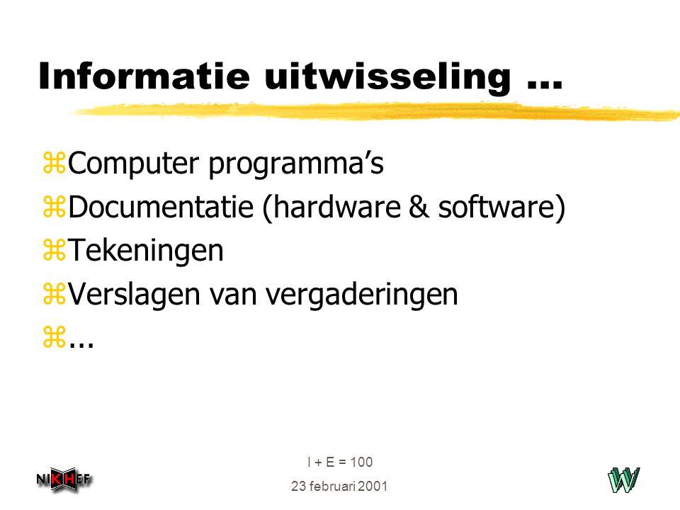 I + E = 100 23 februari 2001 Informatie uitwisseling... zComputer programma's zDocumentatie (hardware & software) zTekeningen zVerslagen van vergaderi