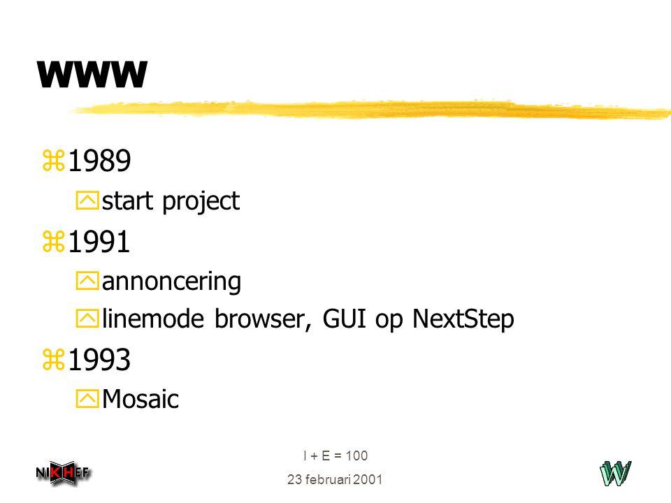 I + E = 100 23 februari 2001 WWW z1989 ystart project z1991 yannoncering ylinemode browser, GUI op NextStep z1993 yMosaic