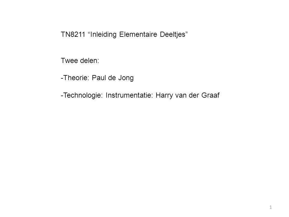 """TN8211 """"Inleiding Elementaire Deeltjes"""" Twee delen: -Theorie: Paul de Jong -Technologie: Instrumentatie: Harry van der Graaf 1"""