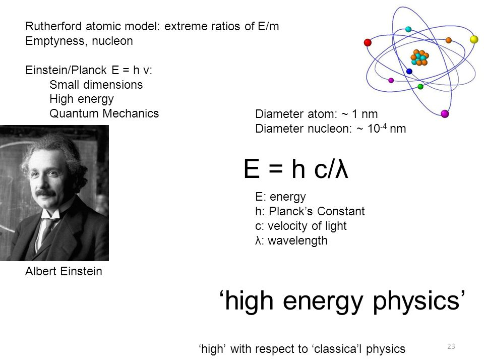 Rutherford atomic model: extreme ratios of E/m Emptyness, nucleon Einstein/Planck E = h ν: Small dimensions High energy Quantum Mechanics Diameter ato