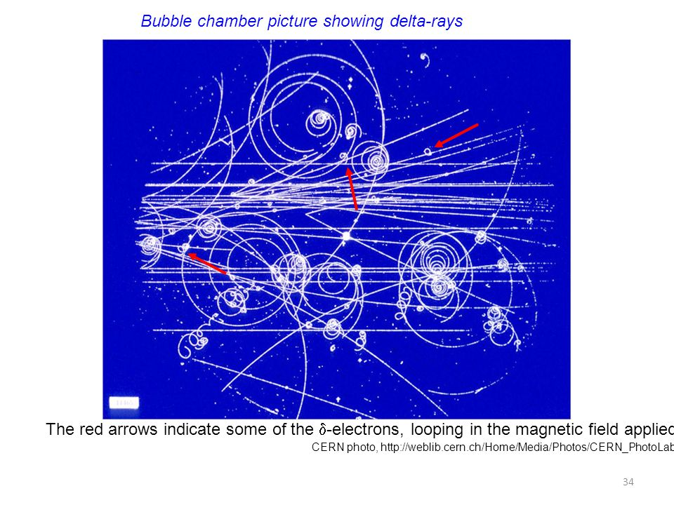 CERN photo, http://weblib.cern.ch/Home/Media/Photos/CERN_PhotoLab/?p= Bubble chamber picture showing delta-rays The red arrows indicate some of the 