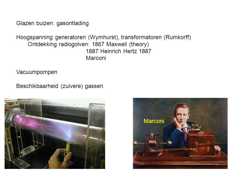 Glazen buizen: gasontlading Hoogspanning generatoren (Wymhurst), transformatoren (Rumkorff) Ontdekking radiogolven: 1867 Maxwell (theory) 1887 Heinric