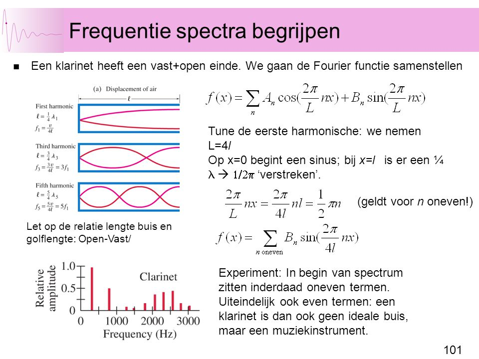 101 Frequentie spectra begrijpen Een klarinet heeft een vast+open einde.