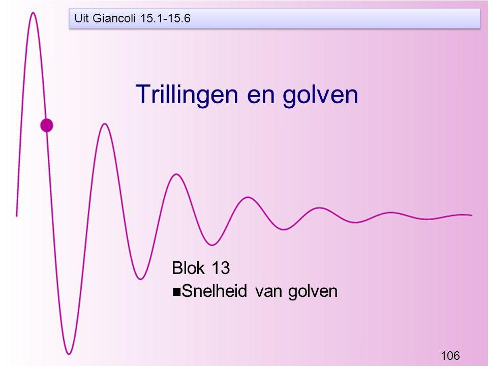 106 Trillingen en golven Blok 13 Snelheid van golven Uit Giancoli 15.1-15.6