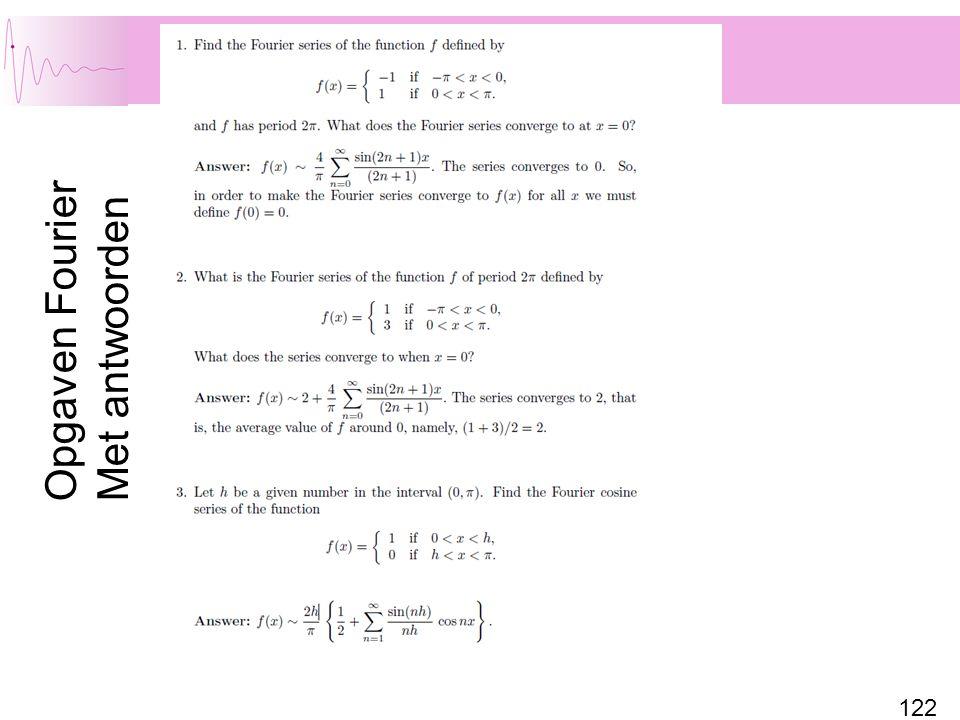 122 Opgaven Fourier Met antwoorden